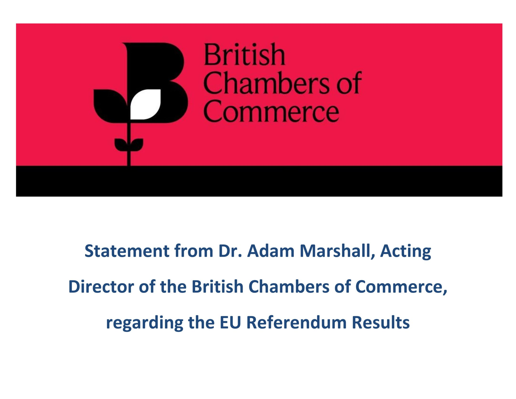 BritCham Official Response Regarding EU Referendum Result